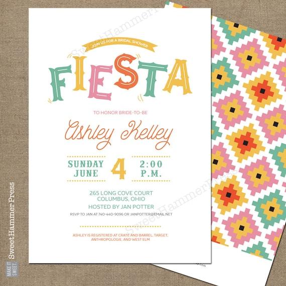 Fiesta Bridal Shower Invitation Fiesta Theme Mexican Theme Fiesta Baby Shower Invite Fiesta Birthday Cinco De Mayo Invitation Summer Party