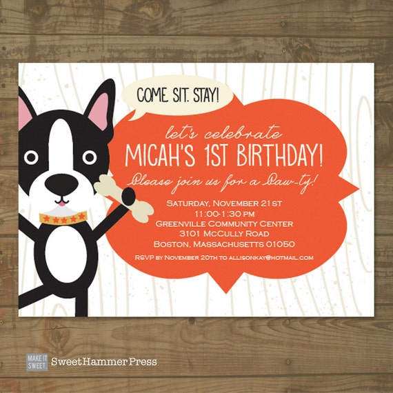 Boston Terrier Dog Themed Childs Birthday Party Invitation For