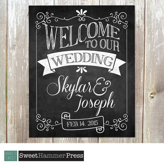 Welcome To Our Wedding Chalkboard Sign Art Print Customized
