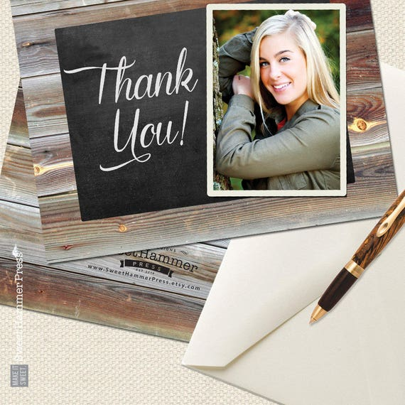 graduation thank you notes photo thank you cards with photo etsy