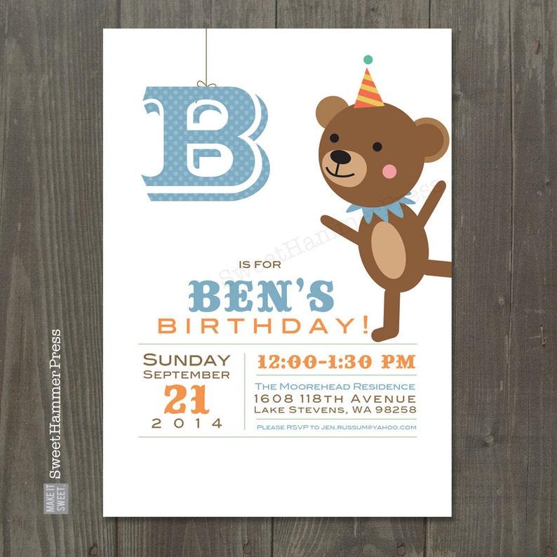 Bear Birthday Invitations Party Invitation Boy Girl Zoo Animal Theme Circus Party Bear Party First Birthday Invitation Blue Brown