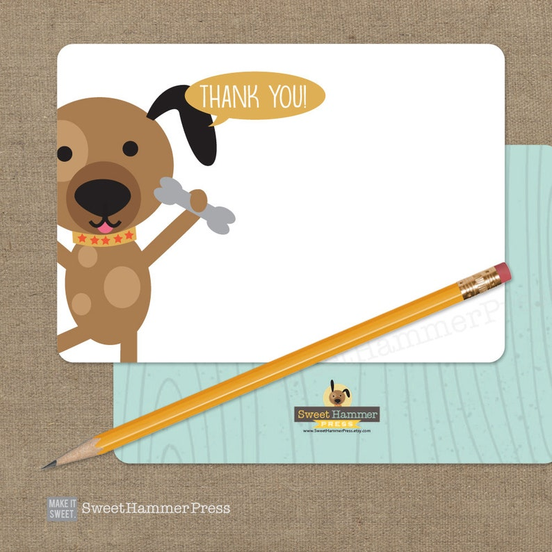 Dog Thank You Notes Puppy Thank You Notecards Child Birthday Boy or Girl Puppy Birthday Party Dog Theme Party