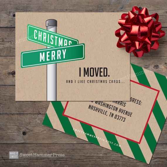 We Moved Christmas Cards Streetsign Xmas Moving Cards New