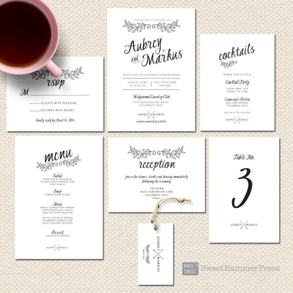 Printed Wedding Invitations Black and White Wedding   Etsy