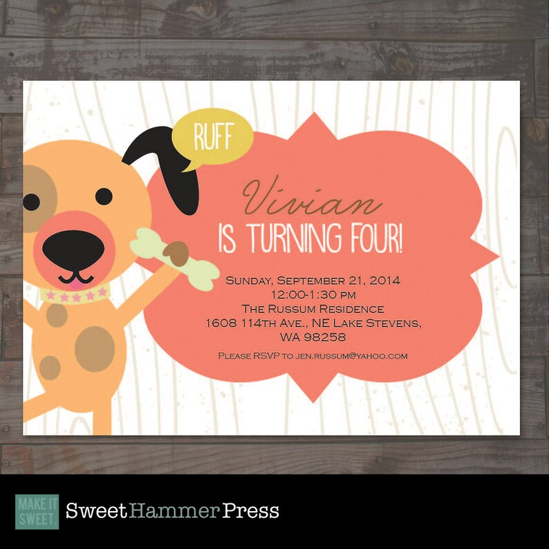 Dog Themed Childs Birthday Party Invitation Boy Or Girl Puppy