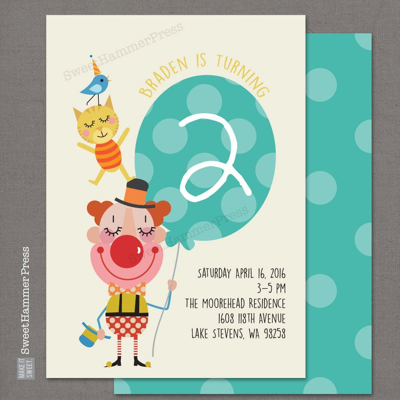 Kittens And Clowns Birthday Party Invitations Circus Clown Etsy