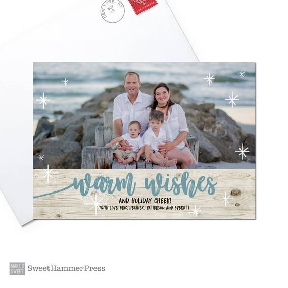 Beach Holiday Card Warm Wishes Photo Christmas Cards Printed Etsy