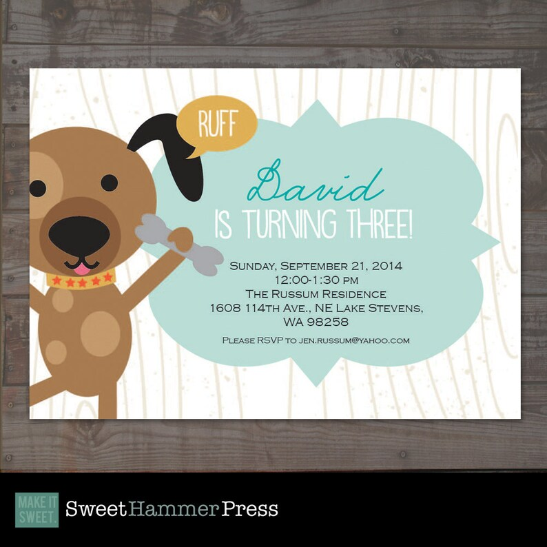 Puppy Birthday Party Invitation Boy Or Girl Dog