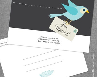 We Moved Cards We're Moving Cards Moving Postcard Bird Moving Cards Just Moved We Have a New Address announcement Cards Digital or Printed
