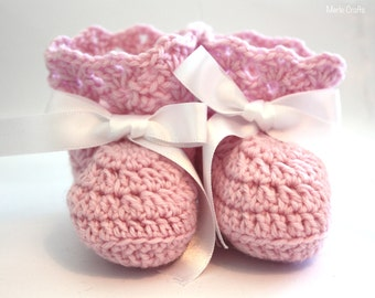 Pink Crochet Baby Booties/crib shoes.