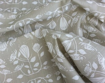 Hand printed  fabric. Sold per meter, width of fabric 1.46m .  Protea design in Stone, onto 100% cotton.