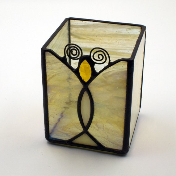 Birthday Candle Holder In Yellow Stained Glass