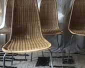 Pair of gorgeous MCM rattan and chrome dining chairs