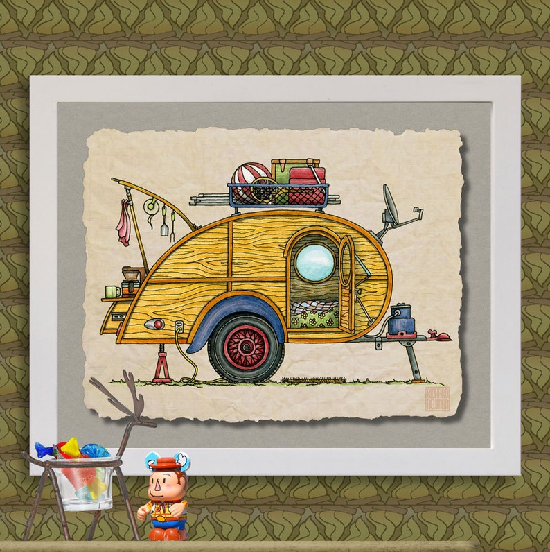 Teardrop Camper happy camper art Cute whimsical travel trailer and camp er  prints add fun to RV trailer or cabin as 8x10 & 13x19 wall decor