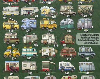 Stickers pack of 8 happy Camper RV Whimsical RV travel trailer camper for camper rally camping club as fun camper gift camper decor.