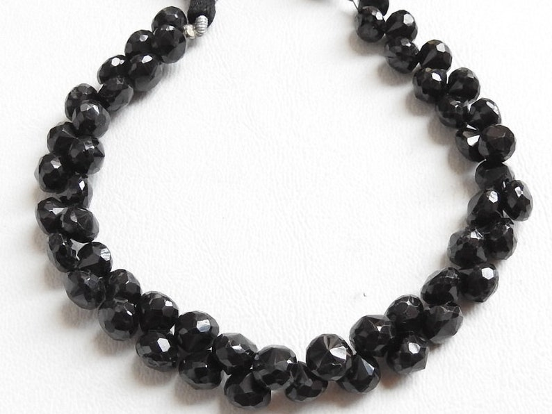 bsj BLACK SPINEL 1.Strand 8 Faceted Onion Shape Briolettes 7X7 mm Approx 100/% Natural Awesome Quality Discounted Price New Arrival