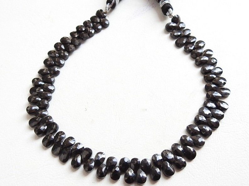 bsj BLACK SPINEL 1.Strand 10 Faceted Drops Shape Briolettes 7X5 MM Approx 100/% Natural Beautiful Quality Discounted Price New Arrival