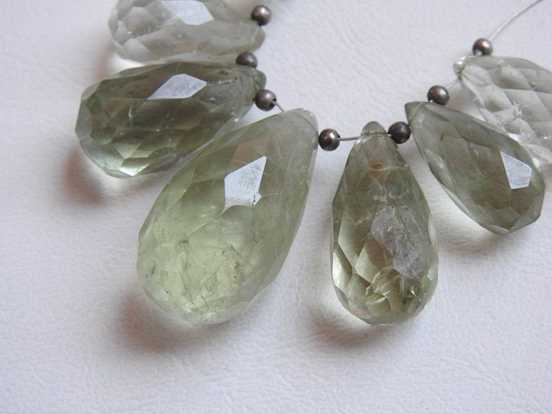 GREEN AMETHYST 1.Strand 7 Pcs Faceted Drop Shape Briolettes Big Size 100/% Natural Beautiful Quality Discounted Price New Arrival