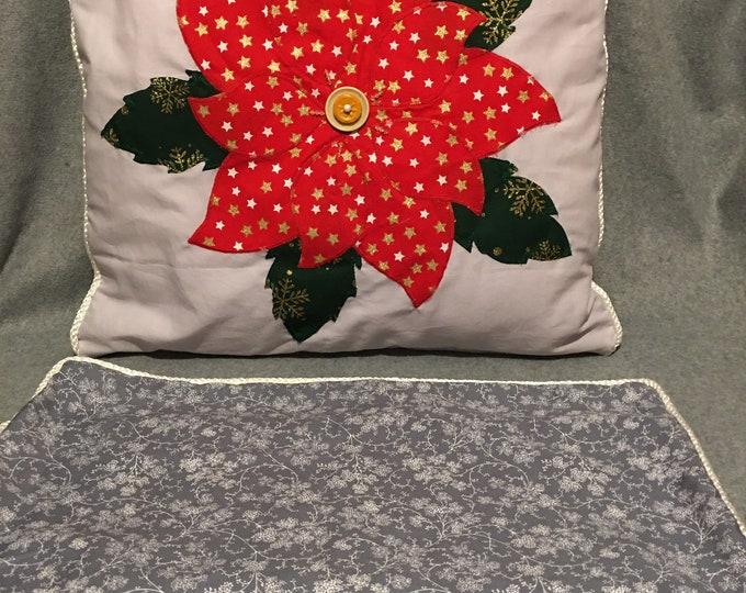 Poinsettia Appliqué Cushion