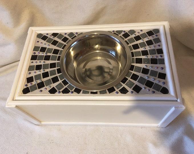 Dog Raised Feeding/Water Stand with Storage