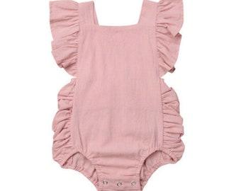 2d31c28723e Blush Pink Baby Girl Romper