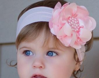 Light Pink Pearl Flower Headband, Baby Flower Headband, Baby Headband, Big Flower Headband, Flower Girl Headband, Pink Baby Headband, 985