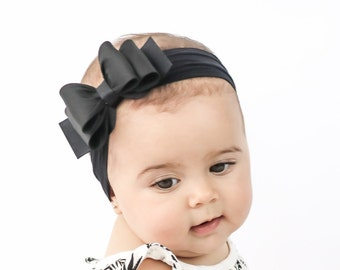 Baby Headband, Black Big Bow Headband, Black Baby Headband, Newborn Headband, Big Bow Headband, Bow Headband, Nylon Headband, 1041