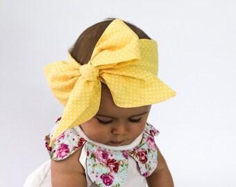 Baby Head Wrap, Baby Headwrap, Polka Dots Headband, Baby Turban, Toddler HeadWrap, Girls Headwrap Turban, Yellow  Baby Head wrap, 2244