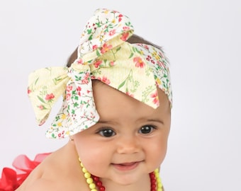 Baby Head Wrap, Baby yellow Headwrap, Double sided Floral Headband, Baby Turban, Toddler HeadWrap, Girls Head wrap, Yellow Head wrap, 2244