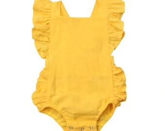 2ad86813843 Yellow Baby Girl Romper