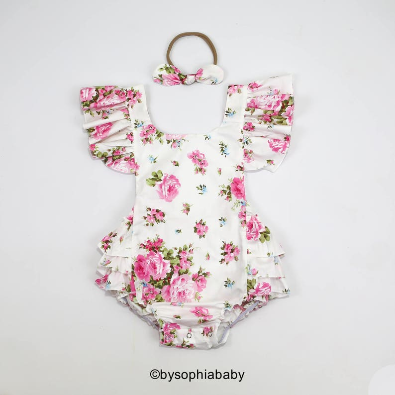 ba5a13984ad0 Baby Girl Romper Set Baby Romper and Headband Pink Floral