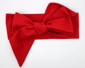 Baby Head Wrap, Baby Headwrap, Red Baby Headband, Red Turban, Toddler HeadWrap, Girls Bow Headwrap Turban, Christmas Headwrap Headband, 2244