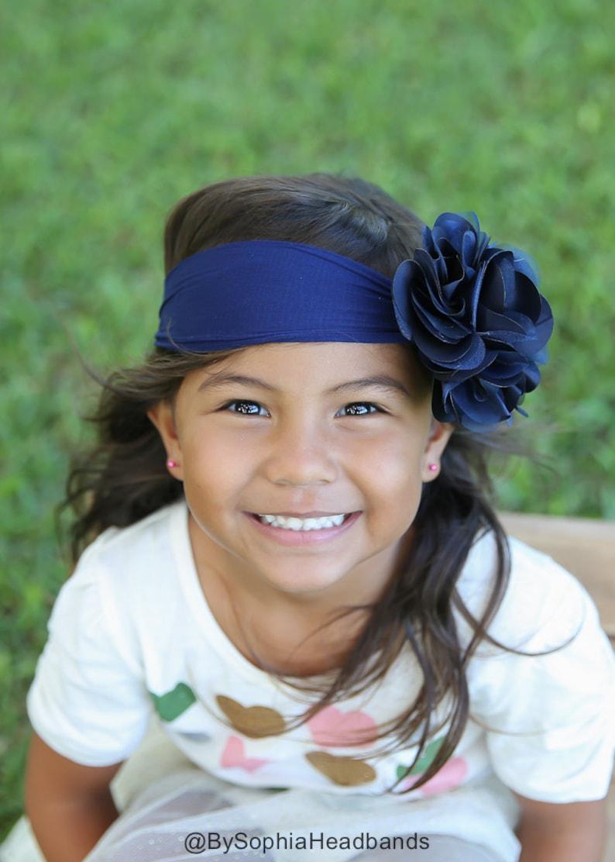 Flower Girl Headband 914 Big Flower Nylon Headband Blue Big Flower Head band Royal Blue Flower Headband Royal Blue Baby Headband
