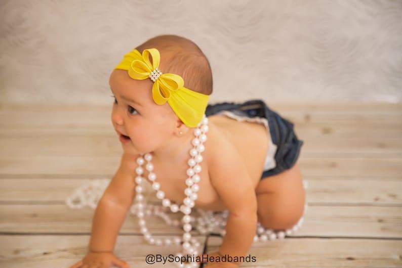 Newborn Headband Yellow Bow Headband 715 Yellow Nylon Headband Rhinestone Headband Yellow Baby Headband Baby Bow Headband Photo Prop