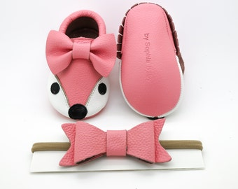 Baby Moccasins, Baby Light Pink Fox Moccasins, Baby Leather Shoes, Genuine Leather Moccs, Toddler Moccasins, Baby Bow Moccasins