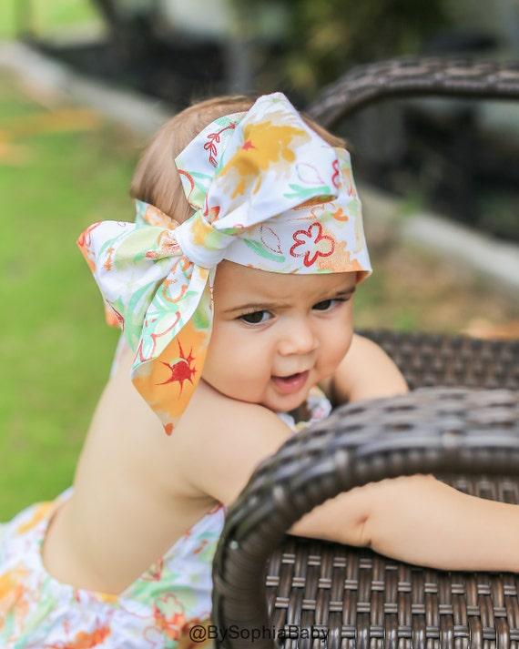 fabric head wrap Mustard Floral head wrap floral headwrap headwraps newborn headwrap baby headwrap baby headband toddler headwrap
