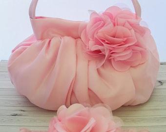 Light Pink Flower Handbag, Girls Pink Purse, Girls Pink Handbag, Pink Baby purse, Photography Prop, Pink Baby Purse, 920