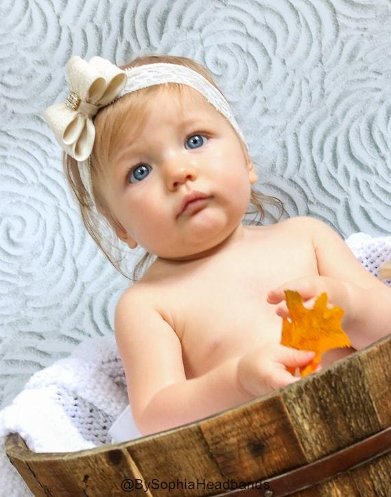 Ivory Bow HeadbandIvory Baby BowIvory Baby HeadbandCream Bow HeadbandBaby HeadbandNewborn HeadbandBaby Girl HeadbandInfant Headband