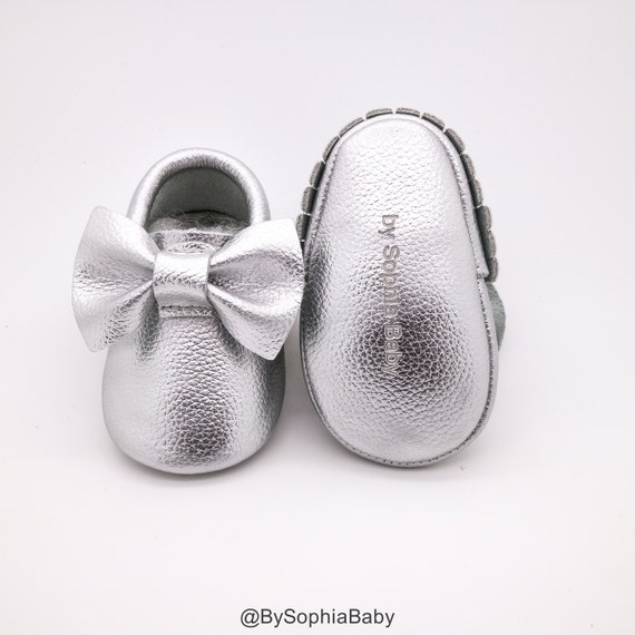 Baby Moccasins Baby Silver Bow