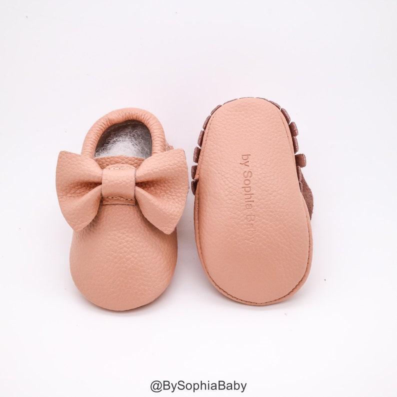 a9ed4ab5c4eff Baby Moccasins, Baby Blush Pink Bow Moccasins, Baby Leather Shoes, Genuine  Leather Moccs, Toddler Moccasins, Baby Moccs, Baby Shower Gift