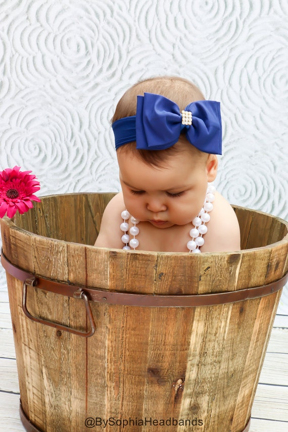 Blue Big Bow Headband Baby Blue Headband Newborn Headband   Etsy