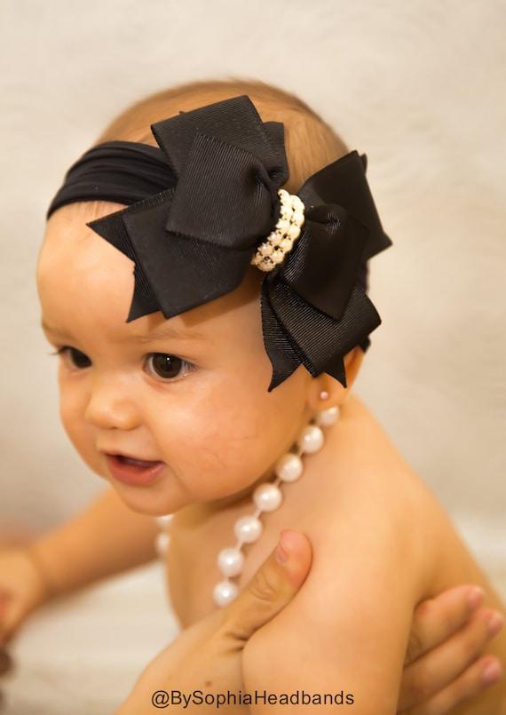 Baby Headband Headwrap Black Baby Headband Baby Bow  e21810ecacc