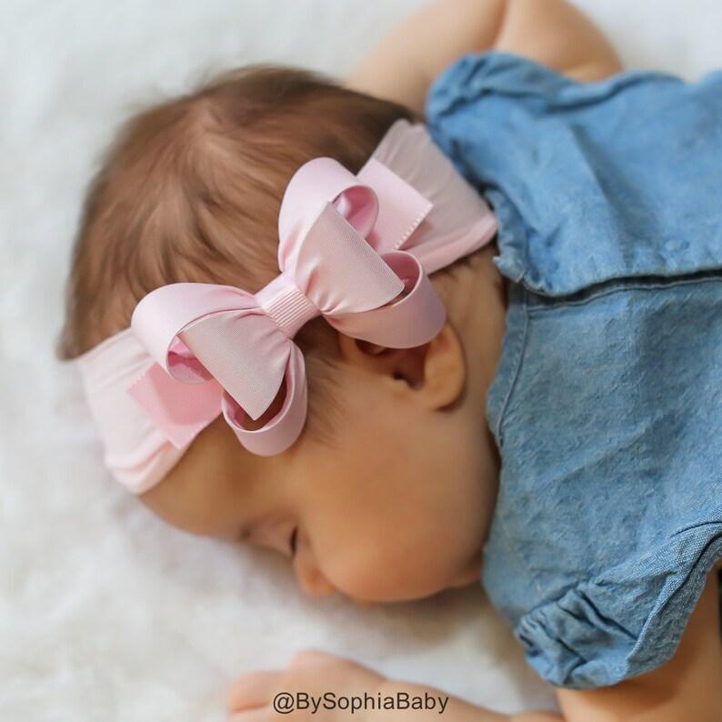 Baby Girl Headband 1431 Bow Headband Lilac Baby Headband Nylon Headband Photography Prop Lavender Baby Bow Headband Newborn Headband