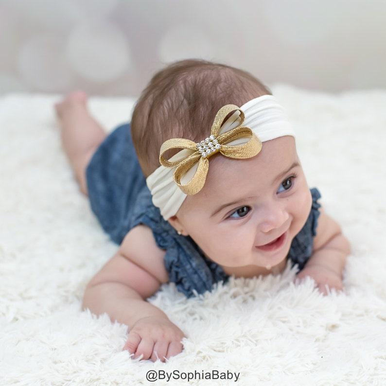 b5ac0db5215f Gold Baby Headband Gold Bow Headband Headwrap Ivory Baby