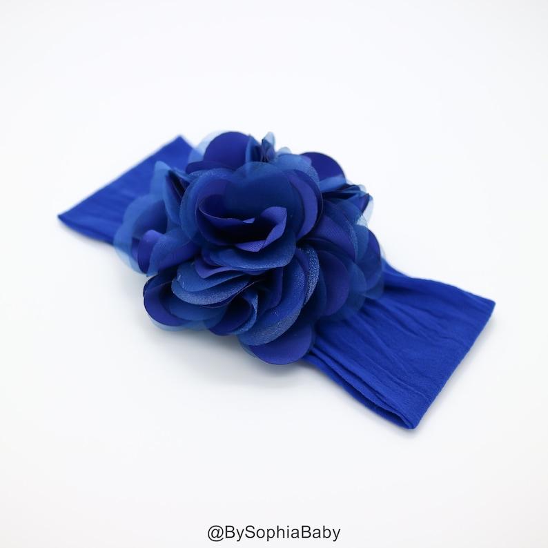 Royal Blue Flower Headband Royal Blue Baby Headband Big  0f7e802fa15