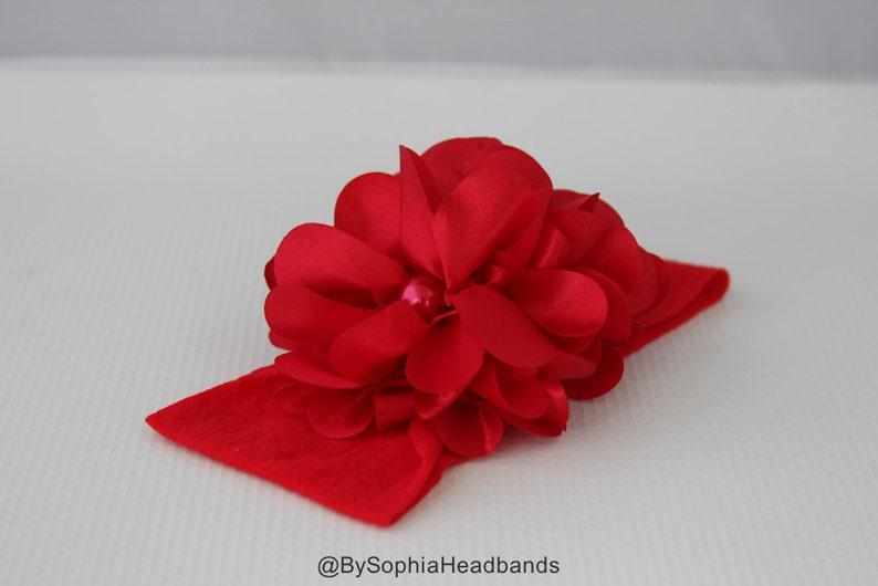 Christmas Headband Red Nylon Headband Photo Prop Baby Nylon Headband Toddler Red Headband Red Flower Headband Red Baby Headband 847