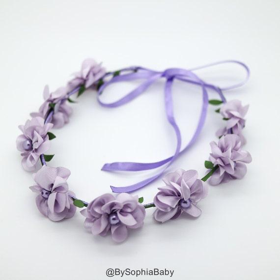 Baby Flower Crown Toddler Flower Crown Lavender Lilac Flower  648ec8bdf94