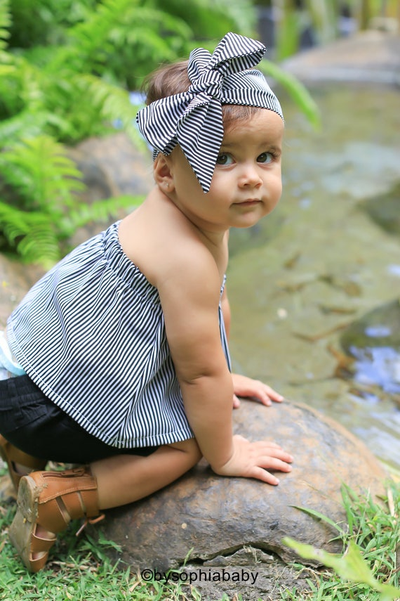 Stripe Black Baby Top And Head Wrap Set Baby Summer Set Baby Etsy