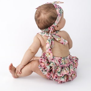 Baby Romper Bloomers Floral Bloomer set 5 PC Baby Girl Romper Set Baby Romper and Headband Baby Shower Gift Floral Baby Bloomer set