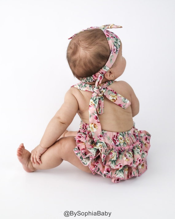 baby girl bloomer set denim chambray-baby bloomer set-baby girl head wrap-baby shower gift-baby girl clothes-baby girl outfit-love factory